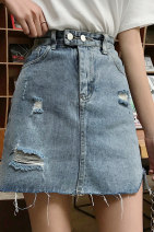 skirt Summer 2020 S M L XL Picture color Short skirt commute Natural waist A-line skirt Solid color 18-24 years old 81% (inclusive) - 90% (inclusive) Denim Gooseby polyester fiber Korean version Pure e-commerce (online only) 101g / m ^ 2 (including) - 120g / m ^ 2 (including)