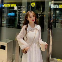 Dress Autumn 2020 white Average size Mid length dress singleton  Long sleeves commute Polo collar High waist Solid color Single row two buttons Big swing routine 18-24 years old Type A Gooseby Korean version Button 1716_ LLNgN 81% (inclusive) - 90% (inclusive) cotton Cotton 81.4% others 18.6%