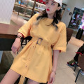 Dress Spring of 2019 Average size Miniskirt singleton  Short sleeve commute Crew neck High waist Solid color Socket other other Others 18-24 years old Type A Gooseby Korean version More than 95% knitting cotton Cotton 94.5% polyurethane elastic fiber (spandex) 5.5% Pure e-commerce (online only)