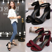Sandals 33,34,35,36,37,38,39,40,41 Superfine fiber Other / other Barefoot Thick heel High heel (5-8cm) Summer 2020 Flat buckle Korean version Solid color Adhesive shoes Youth (18-40 years old), middle age (40-60 years old) rubber office Microfiber skin Microfiber skin Flat buckle Frosting