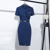 Dress Spring 2020 Navy short sleeves S,M,L,XL,2XL,3XL Mid length dress singleton  Short sleeve commute Crew neck Solid color zipper 25-29 years old Ol style L2072 More than 95% polyester fiber