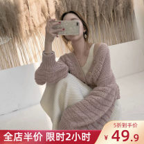 Women's large Winter 2020 Dress Two piece set Sweet easy moderate Cardigan Long sleeves Solid color V-neck Medium length puff sleeve Soudorya / sudoya 18-24 years old Three dimensional decoration longuette Viscose (viscose) 100% Pure e-commerce (online only) Pleated skirt straps zipper college
