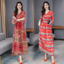 Dress Spring 2020 S M L XL 2XL 3XL 4XL longuette singleton  elbow sleeve commute V-neck High waist Decor Socket Big swing routine Others 25-29 years old Type A Nicanila Korean version printing More than 95% polyester fiber Polyester 100% Pure e-commerce (online only)