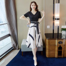 Dress Summer of 2019 Picture color S M L XL Mid length dress singleton  Short sleeve commute V-neck middle-waisted Solid color Socket Big swing Others 25-29 years old Type A Nicanila Korean version Bow tie stitching print More than 95% polyester fiber Polyester 100% Pure e-commerce (online only)