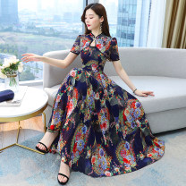 Dress Summer 2021 Green blue M L XL 2XL 3XL 4XL longuette singleton  Short sleeve commute stand collar middle-waisted Decor Socket Big swing routine Others 30-34 years old Type A Nicanila Korean version printing NKNL21BL6518 More than 95% Chiffon other New polyester fiber 100%