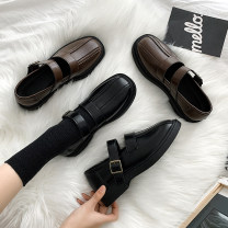 Low top shoes 35 36 37 38 39 Fanaishi Dark brown black Round head PU Flat bottom Middle heel (3-5cm) Midmouth cloth Winter 2020 Flat buckle Korean version Adhesive shoes Youth (18-40 years old) Solid color rubber Single shoes waterproof cloth leisure time YZX-5021203 Pure e-commerce (online only)