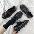 Low top shoes 35 36 37 38 39 40 Fanaishi Brown Black Round head PU Flat bottom Middle heel (3-5cm) Deep mouth cloth Autumn 2020 Frenulum Korean version Adhesive shoes Youth (18-40 years old) Solid color rubber Single shoes Cross strapping platform cloth leisure time NBD-A9161020
