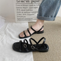 Sandals 35 36 37 38 39 40 Black double button off white double button black single button off white single button black double button upgrade off white double button upgrade black single button upgrade off white single button upgrade PU Fanaishi Barefoot Flat bottom Low heel (1-3cm) Summer 2021 daily