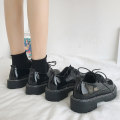 Low top shoes 35 36 37 38 39 40 Fanaishi Black single black with cotton Round head PU Muffin bottom Low heel (1-3cm) Midmouth cloth Autumn of 2019 Frenulum Korean version Adhesive shoes Youth (18-40 years old) Solid color rubber Single shoes Cross tie bow muffin and water table cloth leisure time