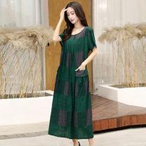 Women's large Summer 2021 1#,2#,3#,4#,5#,6#,7#,8#,9#,10#,11#,12#,13# XL (recommended 100-120 kg), 2XL (recommended 120-140 kg), 3XL (recommended 140-160 kg), 4XL (recommended 160-180 kg), 5XL (recommended 180-200 kg) Dress singleton  commute easy thin Socket Short sleeve Broken flowers Korean version