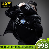 leather clothing Sensefad / St. Sivan Fashion City Black presale 1 Black presale 2 black presale 3 XXL XXL ready ml XL have cash less than that is registered in the accounts leather and fur Hood Slim fit zipper winter leisure time youth Other 100% tide SXFP23589 Rib hem Hidden thread patch bag badge