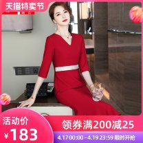 Dress Spring 2021 Red mid sleeve dress blue mid Sleeve Dress Purple mid Sleeve Dress Black Mid sleeve dress S M L XL 2XL 3XL 4XL 5XL Middle-skirt singleton  three quarter sleeve commute V-neck middle-waisted Solid color routine Others 18-24 years old Qzfs / Qingzhong Korean version QZ08113