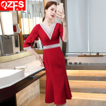 Dress Spring 2021 Red mid sleeve dress blue mid Sleeve Dress Black Mid sleeve dress S M L XL 2XL 3XL 4XL 5XL Mid length dress singleton  three quarter sleeve commute V-neck middle-waisted Solid color One pace skirt routine Others 18-24 years old Qzfs / Qingzhong Korean version QZ08110 More than 95%