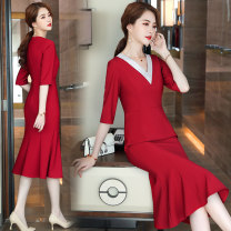 Dress Spring 2021 Red mid Sleeve Dress Purple mid Sleeve Dress Black Mid sleeve dress S M L XL 2XL 3XL 4XL 5XL Middle-skirt singleton  three quarter sleeve commute V-neck middle-waisted Solid color One pace skirt routine Others 18-24 years old Qzfs / Qingzhong Korean version QZ08115 More than 95%