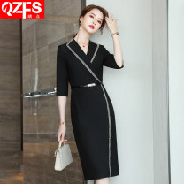 Dress Spring 2021 Black medium sleeve dress (black belt for free) S M L XL 2XL 3XL 4XL 5XL Middle-skirt singleton  three quarter sleeve commute tailored collar middle-waisted Solid color One pace skirt routine Others 18-24 years old Qzfs / Qingzhong Korean version QZ08116 More than 95%