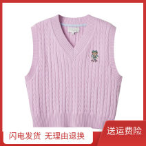 Wool knitwear Spring 2021 S,M,L L1 warm hand bear vest is blue, L1 warm hand bear vest is purple Sleeveless singleton  Socket cotton 51% (inclusive) - 70% (inclusive) have cash less than that is registered in the accounts routine Sweet Straight cylinder V-neck Solid color Socket Cool college