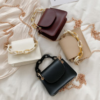 Bag The single shoulder bag PU Small square bag Meimeier Black, white, Burgundy, khaki brand new Japan and South Korea Mini leisure time soft Cover type no Solid color Single root One shoulder cross carry nothing youth Horizontal square chain Chain handle synthetic leather soft surface