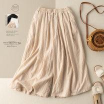 Casual pants Apricot white black M L XL 2XL Summer 2021 trousers Wide leg pants High waist commute routine 25-29 years old 30% and below He Yongzi hemp literature pocket hemp Cotton 70% flax 30%