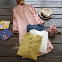 Dress Summer of 2019 White dark blue pink M L XL 2XL Mid length dress singleton  Long sleeves commute Crew neck Loose waist Solid color Single breasted A-line skirt routine 35-39 years old Type A He Yongzi Simplicity 51% (inclusive) - 70% (inclusive) hemp Flax 70% Cotton 30%