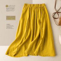 skirt Spring 2021 M L XL 2XL Yellow brown black Mid length dress commute High waist A-line skirt Solid color Type A 25-29 years old More than 95% He Yongzi hemp fold literature Flax 100%