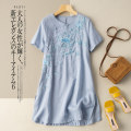 Dress Summer 2021 Pink blue white M L XL 2XL longuette singleton  Short sleeve commute Crew neck Loose waist Solid color Socket A-line skirt routine 25-29 years old Type A He Yongzi literature Embroidery More than 95% hemp Flax 100%