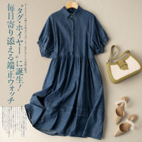 Dress Summer 2021 Light blue dark blue M L XL 2XL longuette singleton  Short sleeve commute Polo collar Loose waist Solid color Socket A-line skirt routine 25-29 years old Type A He Yongzi literature Button More than 95% cotton Cotton 100%