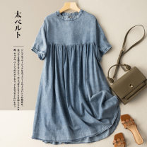 Dress Summer 2021 Light blue dark blue M L XL 2XL longuette singleton  Short sleeve commute Crew neck Loose waist Solid color Socket A-line skirt routine 25-29 years old Type A He Yongzi literature Splicing More than 95% Denim cotton Cotton 100%