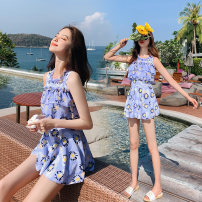 one piece  Zhuo Haozi Skirt one piece With chest pad without steel support Spandex polyester others Summer 2020 no female Sleeveless Casual swimsuit Lotus leaf edge