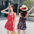one piece  Zhuo Haozi 616 black 616 red 257 red 257 yellow Skirt one piece With chest pad without steel support Spandex polyester others Summer of 2019 no female Sleeveless Casual swimsuit Hand painted others Lotus leaf edge