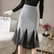 skirt Autumn 2020 S M L XL 2XL houndstooth  Mid length dress sexy High waist skirt Solid color Type A 25-29 years old 91% (inclusive) - 95% (inclusive) brocade other New polyester 95% other 5% Pure e-commerce (online only) 351g / m ^ 2 (including) - 400g / m ^ 2 (including)