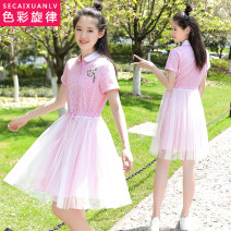 Dress Summer of 2019 Pink blue gray S M L XL Middle-skirt singleton  Short sleeve Sweet stand collar middle-waisted lattice zipper Princess Dress routine Under 17 Color melody More than 95% cotton Cotton 100% college Pure e-commerce (online only)