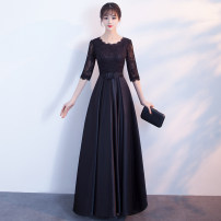 Dress / evening wear Weddings, adulthood parties, company annual meetings, daily appointments grace longuette middle-waisted Spring of 2018 A-line skirt U-neck zipper 18-25 years old three quarter sleeve flower Solid color Love sea silver yarn routine Other 100% Pure e-commerce (online only)