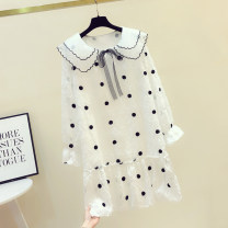 Dress Spring 2020 white S,M,L,XL Middle-skirt singleton  Long sleeves commute Doll Collar Loose waist Dot Socket Ruffle Skirt routine Others 18-24 years old Type H Bowknot, ruffle, stitching, bandage 81% (inclusive) - 90% (inclusive) Chiffon