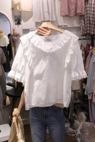 T-shirt white S,M,L,XL Summer of 2018 Short sleeve V-neck easy Regular Petal sleeve commute cotton 86% (inclusive) -95% (inclusive) 18-24 years old Korean version originality Solid color, stitching Stitching, ruffles, lace, pleats