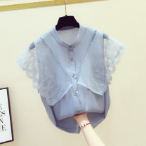 Lace / Chiffon Summer 2020 Blue, white S,M,L,XL Short sleeve commute Cardigan singleton  easy Regular Crew neck Solid color Flying sleeve 18-24 years old Gouhua, hollow out, stitching, buttons, mesh, lace Korean version 81% (inclusive) - 90% (inclusive)