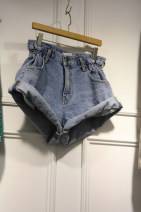 Jeans Summer of 2018 blue S,M,L,XL shorts High waist Wide legged trousers routine 18-24 years old Zipper, button Dark color 51% (inclusive) - 70% (inclusive)
