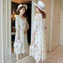 Dress Dear Li Lili M,L,XL,XXL Korean version Short sleeve Medium length summer V-neck shape Chiffon