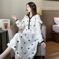 Dress Other / other white M,L,XL,XXL Korean version Long sleeves Medium length autumn V-neck Dot hemp 6905#