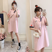 T-shirt Lapel M,L,XL,XXL Dear Li Lili Navy, pink Short sleeve summer Korean version Medium length Cartoon animation routine Pure cotton (95% and above)