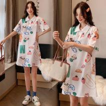 Dress Dear Li Lili Picture color M,L,XL,XXL Korean version Short sleeve Medium length summer Lapel Decor Pure cotton (95% and above)