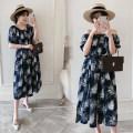 Dress Dear Li Lili navy blue Average size Korean version Short sleeve Medium length summer One word collar Chiffon