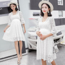 Dress Other / other White, white quality version [80% candidates] M,L,XL,XXL Korean version elbow sleeve Medium length summer V-neck Solid color Lace