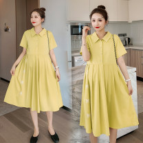 Dress Other / other Black, yellow, black high quality version [80% candidates], yellow high quality version [80% candidates] M,L,XL,XXL Korean version Short sleeve Medium length summer Lapel Solid color Chiffon