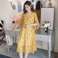 Dress Dear Li Lili M,L,XL,XXL Korean version Short sleeve Medium length summer V-neck Decor Chiffon