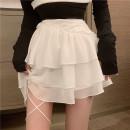 skirt Spring 2021 S,M,L Short skirt commute High waist Cake skirt 18-24 years old 30% and below Chiffon polyester fiber Lotus leaf edge Korean version