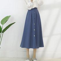 skirt Spring 2021 S,M,L,XL,2XL Blue, black Mid length dress Versatile High waist Umbrella skirt Solid color Type A 752-1 Button