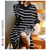 Nightdress An Beiting S M L XL Simplicity Long sleeves pajamas longuette autumn stripe youth V-neck cotton 81% (inclusive) - 95% (inclusive) pure cotton Black and white striped skirt Autumn of 2019 Cotton 95% polyurethane elastic fiber (spandex) 5% Pure e-commerce (online only)