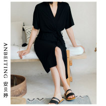 Nightgown / bathrobe An Beiting female Average size Thin money Simplicity summer Medium length (knee to Mid Calf) modal  Solid color youth Summer 2020 Regenerated cellulose fiber 95% polyurethane elastic fiber (spandex) 5% Pure e-commerce (online only)