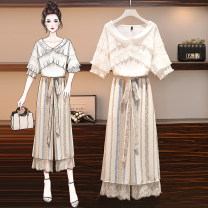 Women's large Summer 2020 Picture color suit white shirt suit Chiffon pants Other oversize styles Two piece set commute easy thin Socket Short sleeve Korean version One word collar routine Three dimensional cutting other PK6633 parkyeon 25-29 years old Lace stitching Other 100% trousers