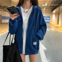 Sweater / sweater Autumn 2020 Gray, black, blue M. L, XL, XXL Long sleeves Cardigan singleton  thickening Hood easy routine letter 91% (inclusive) - 95% (inclusive) other XYS-9054 Splicing